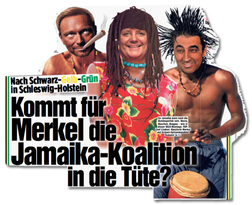 Ausriss Bild-Zeitung - Nach Schwarz-Geld-Grün in Schleswig-Holstein - Kommt für Merkel die Jamaika-Koalition in die Tüte?
