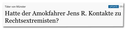 Screenshot Tagesspiegel.de - Täter von Münster - Hatte der Amokfahrer Jens R. Kontakte zu Rechtsextremisten?