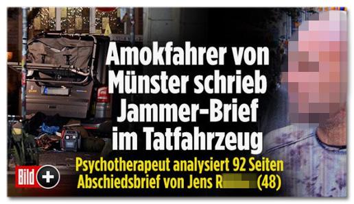 Screenshot Bild.de - Amokfahrer von Münster schrieb Jammer-Brief im Tatfahrzeug - Psychotherapeut analysiert 92 Seiten Abschiedsbrief von Jens Nachname