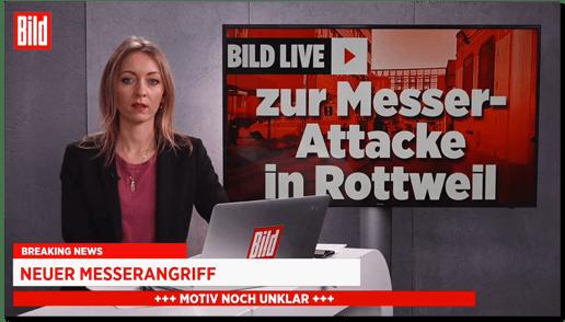 Screenshot der Bild-live-Sendung - Bild live zur Messerattacke in Rottweil - Breaking News - Neuer Messerangriff - Motiv noch unklar