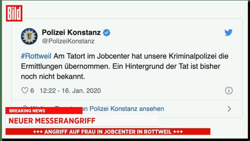 Screenshot von Bild live, wo ein Tweet der Polizei Konstanz eingeblendet wird - Am Tatort im Jobcenter hat unsere Kriminalpolizei die Ermittlungen übernommen. Ein Hintergrund der Tat ist bisher noch nicht bekannt.