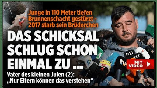 Screenshot Bild.de - Junge in 110 Meter tiefen Brunnenschacht gestürzt - 2017 starb sein Brüderchen - Das Schicksal schlug schon einmal zu