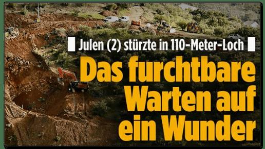 Screenshot Bild.de - Julen stürzte in 110-Meter-Loch - Das furchtbare Warten auf ein Wunder