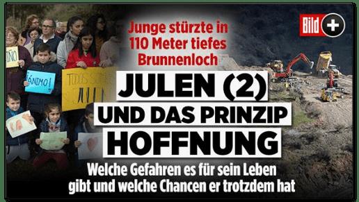 Screenshot Bild.de - Junge stürzte in 110 Meter tiefes Brunnenloch - Julen und das Prinzip Hoffnung