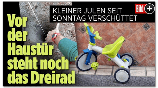Screenshot Bild.de - Kleiner Julen seit Sonntag verschüttet - Vor der Haustür steht noch das Dreirad