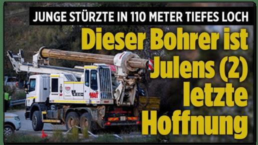 Screenshot Bild.de - Junge stürzt in 110 Meter tiefes Loch - Dieser Bohrer ist Julens letzte Hoffnung