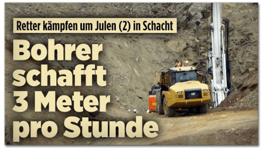 Screenshot Bild.de - Retter kämpfen um Julen in Schacht - Bohrer schafft drei Meter pro Stunde