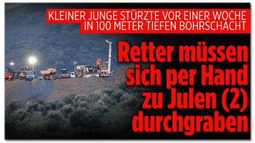 Screenshot Bild.de - Kleiner Junge stürzte vor einer Woche in 100 Meter tiefen Bohrschacht - Retter müssen sich per Hand zu Julen durchgraben