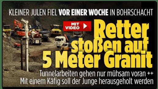 Screenshot Bild.de - Kleiner Julen fiel vor einer Woche in Bohrschacht - Retter stoßen auf fünf Meter Granit