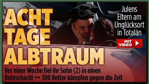 Screenshot Bild.de - Julens Eltern am Unglücksort in Totalan - Acht Tage Albtraum