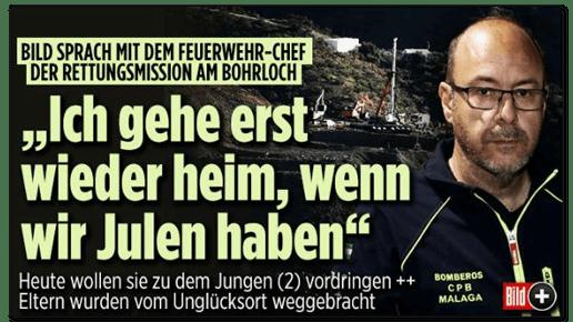 Screenshot Bild.de - Bild sprach mit dem Feuerwehr-Chef der Rettungsmission am Bohrloch - Ich gehe erst wieder heim, wenn wir Julen haben