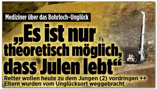 Screenshot Bild.de - Mediziner über das Bohrloch-Unglück - Es ist nur theoretisch möglich, dass Julen lebt