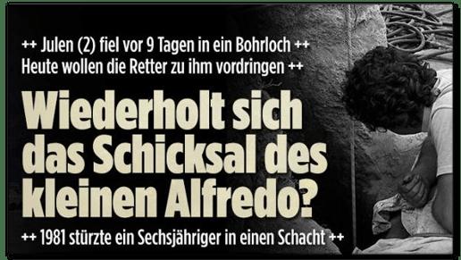 Screenshot Bild.de - Julen fiel vor neun Tagen in ein Bohrloch - Wiederholt sich das Schicksal des kleinen Alfredo?