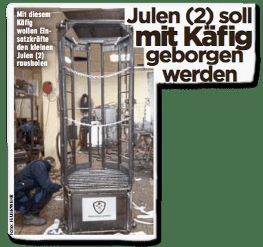Ausriss Bild-Zeitung - Julen soll mit Käfig geborgen werden
