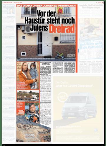 Ausriss Bild-Zeitung - Vor der Haustür steht noch Julens Dreirad