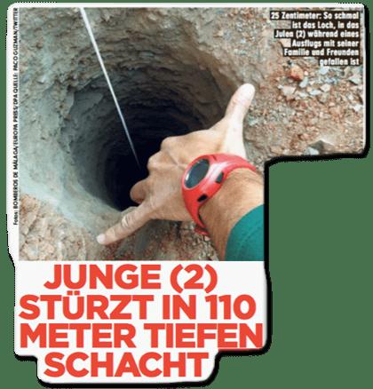 Ausriss Bild-Zeitung - Junge (2) stürzt in 110 Meter tiefen Schacht