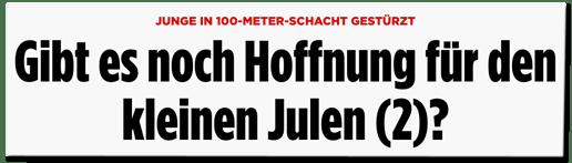 Screenshot Bild.de - Junge in 100-Meter-Schacht gestürzt - Gibt es noch Hoffnung für den kleinen Julen?