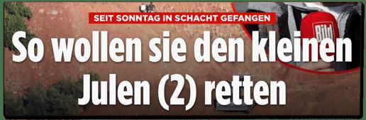 Screenshot Bild.de - Seit Sonntag im Schacht gefangen - So wollen sie den kleinen Julen retten