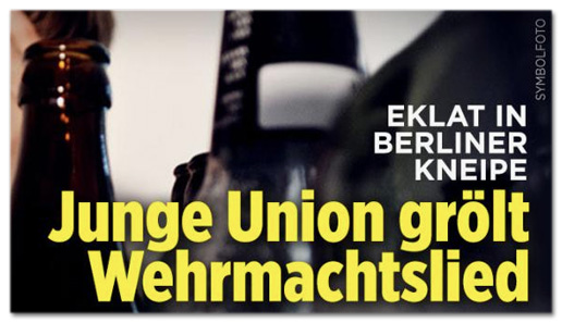 Screenshot Bild.de - Eklat in Berliner Kneipe - Junge Union grölt Wehrmachtslied