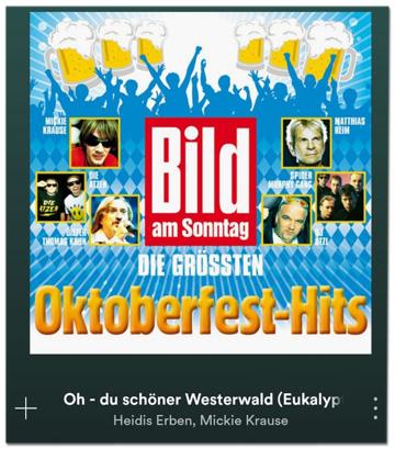 Screenshot von Spotify, der das Cover das Bild-am-Sonntag-Samplers zeigt und den Song Oh du schöner Westerwald
