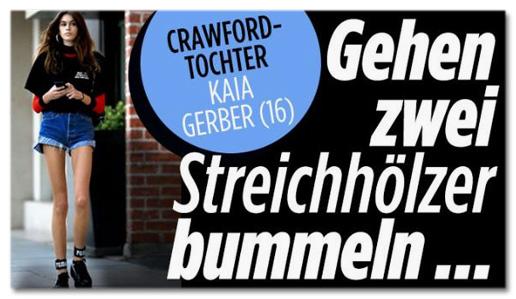 Screenshot Bild.de - Crawford-Tochter Kaia Gerber (16) - Gehen zwei Streichhölzer bummeln