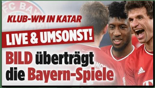 Screenshot Bild.de - Klub-WM in Katar - Live und umsonst - Bild überträgt die Bayern-Spiele