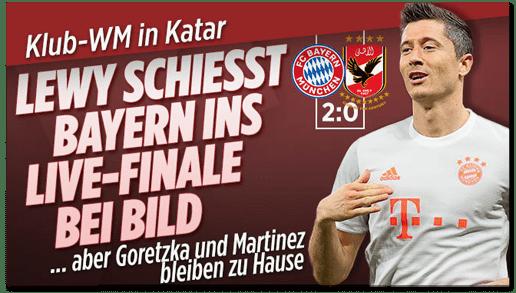 Screenshot Bild.de - Klub-WM in Katar - Lewy schießt Bayern ins Live-Finale bei Bild
