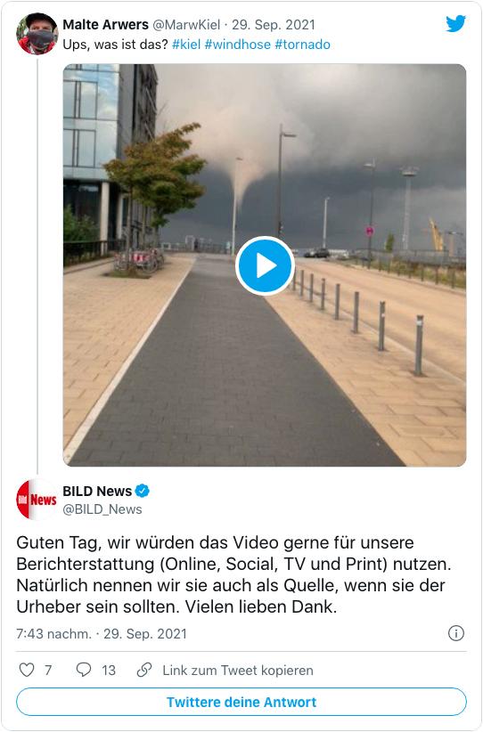Screenshot eines Tweets Bild News - Guten Tag, wir würden das Video gerne für unsere Berichterstattung Online, Social, TV und Print nutzen. Natürlich nennen wir sie auch als Quelle, wenn sie der Urheber sein sollten. Vielen lieben Dank.