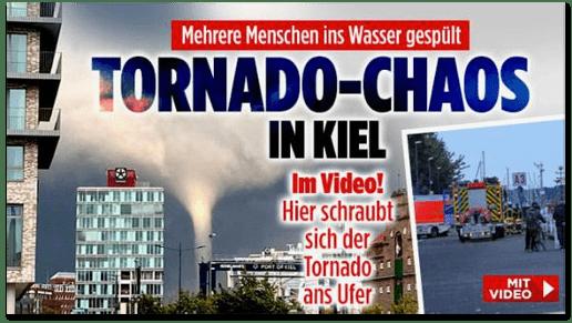 Screenshot Bild.de - Mehrere Menschen ins Wasser gespült - Tornado-Chaos in Kiel - Im Video! Hier schraubt sich der Tornado ans Ufer