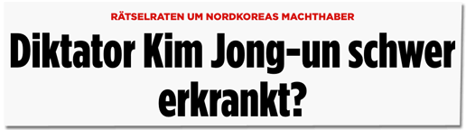 Screenshot Bild.de - Rätselraten um Nordkoreas Machthaber - Diktator Kim Jong-un schwer erkrankt?