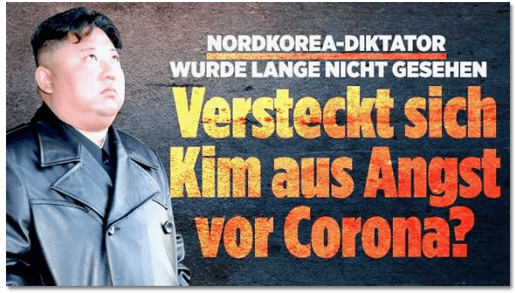 Screenshot Bild.de - Nordkorea-Diktator wurde lange nicht gesehen - Versteckt sich Kim aus Angst vor Corona?