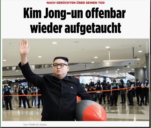 Screenshot des Bild.de-Artikels von gestern Abend mit einem Foto eines Mannes, der in einer Shopping-Mall die Menschen begrüßt und dabei eine aufblasbare Rakete unter den Arm geklemmt hat. Das Foto ist mit dem Hinweis Archivfoto versehen
