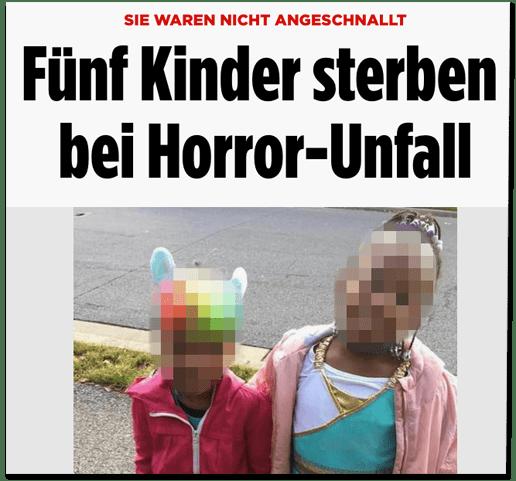 Screenshot Bild.de - Sie waren nicht angeschnallt - Fünf Kinder sterben bei Horror-Unfall. Dazu ein Foto, das zwei der Kinder, die bei dem Unfall gestorben sind, zeigt.