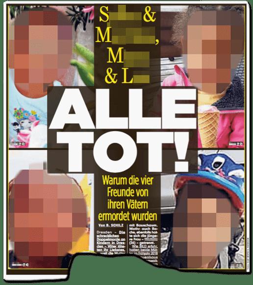 Ausriss Bild-Zeitung - S. und M. und M. und L. - Alle tot! Warum die vier Freunde von ihren Vätern ermordet wurden