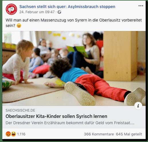 Screenshot eines Facebook-Posts der Seite Sachsen stellt sich quer: Asylmissbrauch stoppen - Will man auf einen Massenzuzug von Syrern in die Oberlausitz vorbereitet sein?