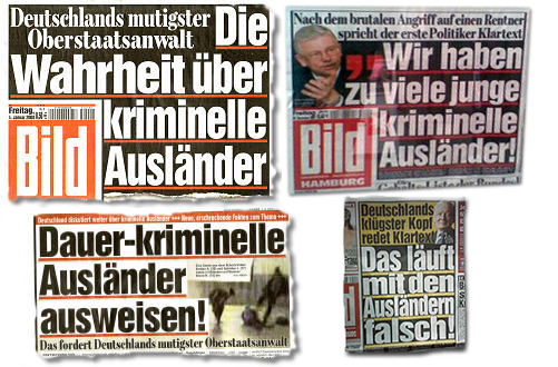 Collage aus mehreren Bild-Schlagzeilen: Deutschlands mutigster Oberstaatsanwalt - Die Wahrheit über kriminelle Ausländer, Dauer-kriminelle Ausländer ausweisen! Das fordert Deutschlands mutigster Oberstaatsanwalt, Wir haben zu viele junge kriminelle Ausländer, Deutschlands klügster Kopf redet Klartext: Das läuft mit den Ausländern falsch
