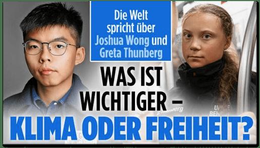 Screenshot Bild.de - Die Welt spricht über Joshua Wong und Greta Thunberg - Was ist wichtiger: Klima oder Freiheit?