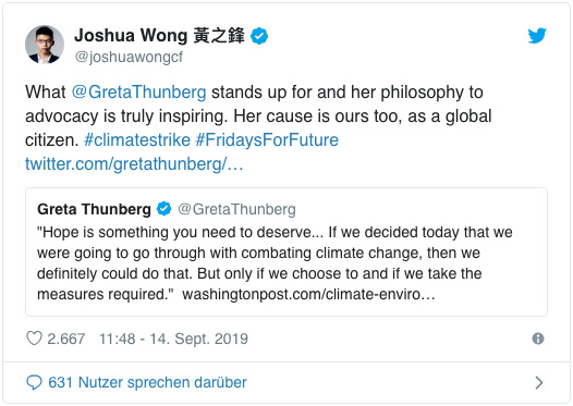 Screenshot eines Tweets von Joshua Wong - What Greta Thunberg stands up for and her philosophy to advocacy is truly inspiring. Her cause is ours too, as a global citizen. climatestrike FridaysForFuture