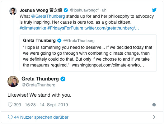 Screensot eines Tweets von Greta Thunberg - Likewise! We stand with you.