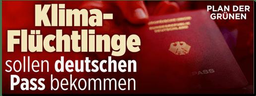 Screenshot Bild.de-Startseite - Plan der Grünen - Klima-Flüchtlinge sollen deutschen Pass bekommen