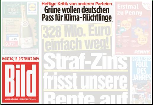 Ausriss Bild-Titelseite - Heftige Kritik von anderen Parteien - Grüne wollen deutschen Pass für Klima-Flüchtlinge