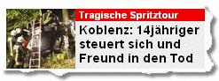Koblenz: 14jähriger steuert sich und freund in den Tod