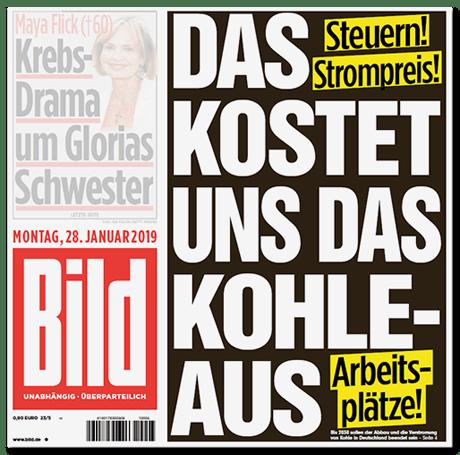 BILD-Titelseite: Steuern! Strompreis! Arbeitsplätze! DAS KOSTET UNS DAS KOHLE-AUS