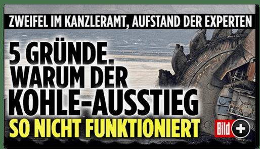 Schlagzeile Bild.de: 5 Gründe, warum der Kohle-Ausstieg so nicht funktioniert