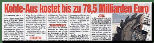 Schlagzeile BILD: Kohle-Aus kostet bis zu 78,5 Milliarden Euro