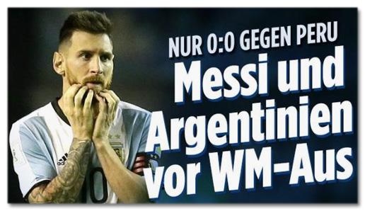 Screenshot Bild.de - Nur null zu null gegen Peru - Messi und Argentinien vor WM-Aus