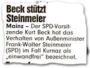 """""""Beck stützt Steinmeier"""""""