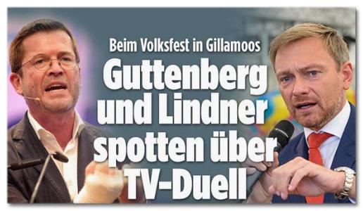 Screenshot Bild.de - Beim Volksfest in Gillamoos - Guttenberg und Lindner spotten über TV-Duell