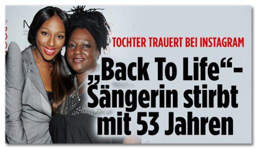 Screenshot Bild.de - Tochter trauert bei Instagram - Back to Life-Sängerin stirbt mit 53 Jahren
