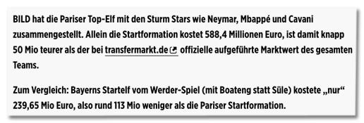 Screenshot Bild.de - BILD hat die Pariser Top-Elf mit den Sturm Stars wie Neymar, Mbappé und Cavani zusammengestellt. Allein die Startformation kostet 588,4 Millionen Euro, ist damit knapp 50 Mio teurer als der bei transfermarkt.de offizielle aufgeführte Marktwert des gesamten Teams. Zum Vergleich: Bayerns Startelf vom Werder-Spiel (mit Boateng statt Süle) kostete nur 239,65 Mio Euro, also rund 113 Mio weniger als die Pariser Startformation.